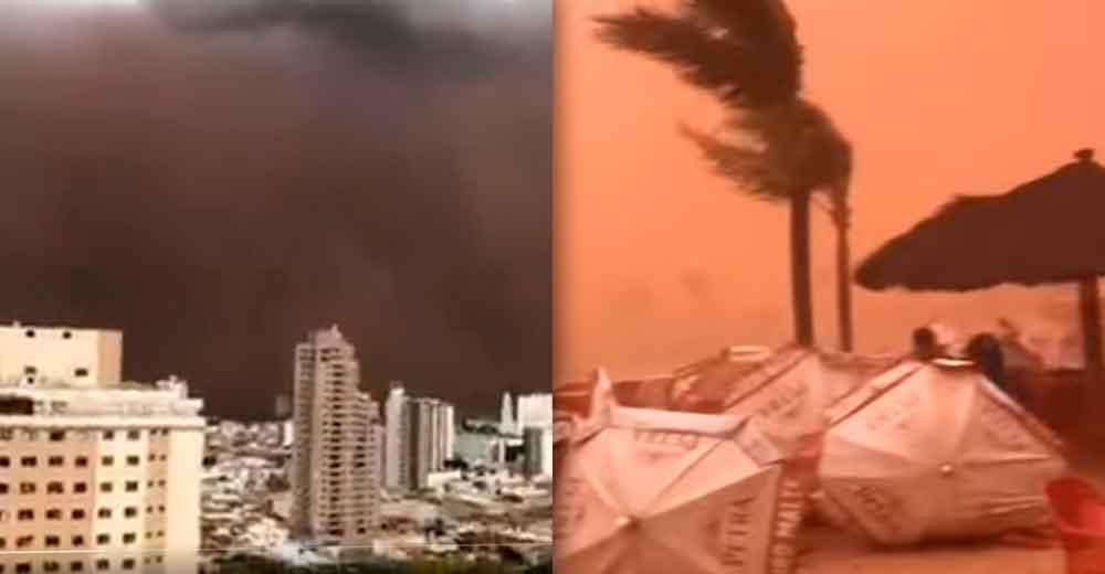 Tormenta de arena cubrió calles de Brasil